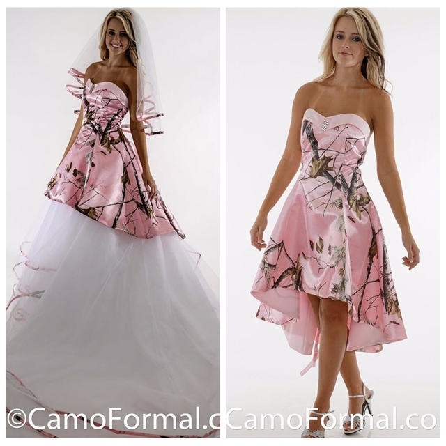 Beautiful Pink Camo A Line Wedding Dress Camouflage White Tulle ...