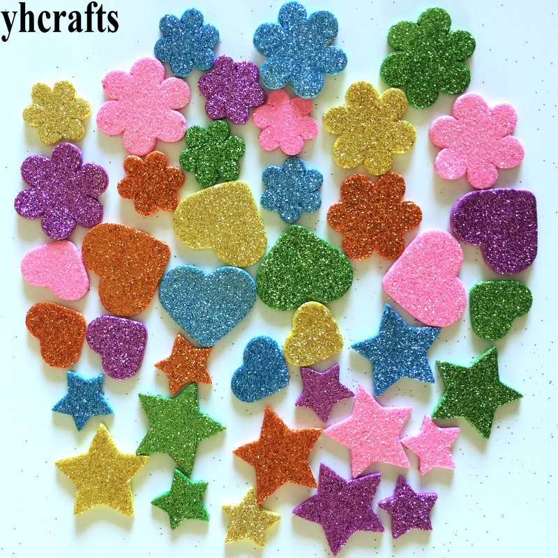 1bag/LOT.Mix Flower Star Hearts Glitter Foam Stickers,Kids Toy.Scrapbooking Kit.Early Educational DIY.kindergarten Craft