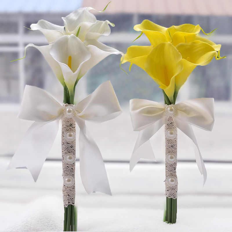 สวย Real TOUCH PU 6-30pcs สีเหลืองสีขาว Calla Lily เจ้าสาวเพื่อนเจ้าสาวดอกไม้ Keepsake Wand Wedding Bouquet เจ้าสาว