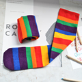 2-9 Y Girl Girls Striped Rainbow Socks Sockings Colorful Princess Korea Hip Hop Style 2017 New Design Two Pairs one Set Children