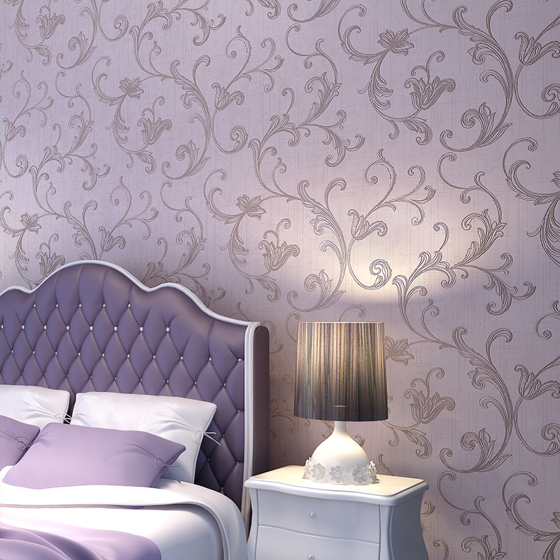 Non woven bedroom wall paper purple flower wallpaper for for Purple living room wallpaper