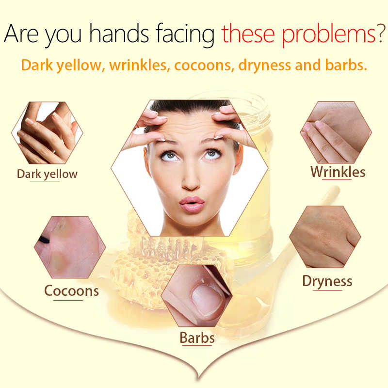 LAMILEE Máscara Mão Mão de Cera Cera de Mel Leite Hidratante Clareamento Da Pele Cuidados Calos Esfoliantes Filme Mão Mãos Cuidados Creme 110g