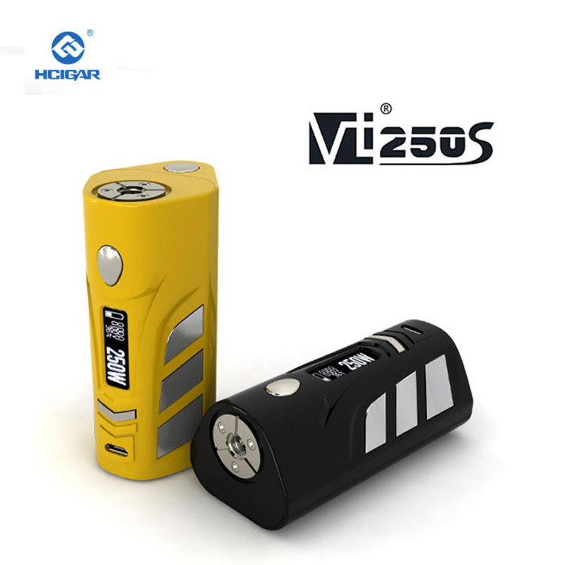 Original HCigar VT250S Box mod 1-167W eller 250W elektronisk cigarett 2-3 Batterier Funktioner baksida EVOLV DNA250 Chipset
