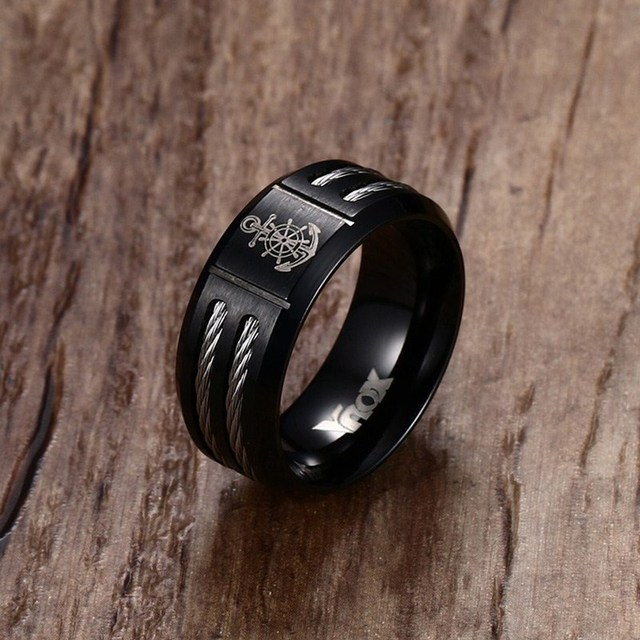 Mprainbow Black Stainless Steel Wire Cable Inlay Ring for Men