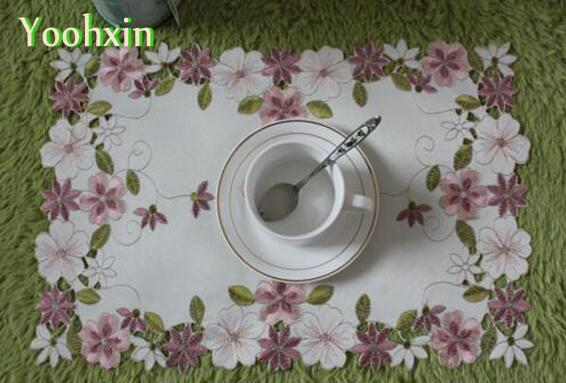 Modern table place mat pad cloth embroidery cup mug coffee tea doily drink coaster Christmas glass placemat dinner party kitchen