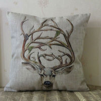 LINKWELL 18 X18 Cartoon Cute Deer Elk Head With Horn Burlap Pillow Cover Cushion Case For