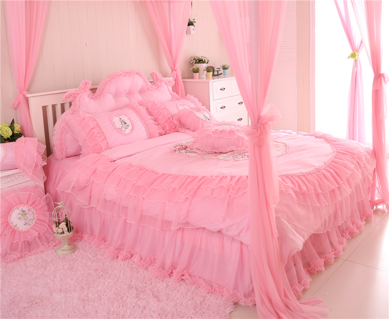 Pink Purple Lace Korean Style Princess Bedding Set King Queen Twin Size Girls Bed skirt set Duvet Cover Decorative Pillow shams