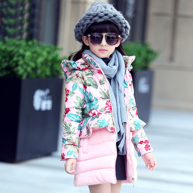 Winter Girls Floral Spliced Hooded Long Wadded Jacket Overcoat Children's Cotton-Padded Clothes Coat Kids Princess Outerwear A24