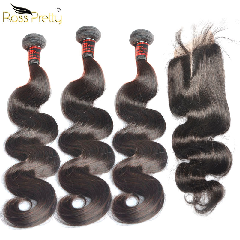 Brazilian Body Wave Bundles With Closure Pre Plucked Baby Hair Lace Closure Human Hair Bundles With Closure Swiss lace 4x4