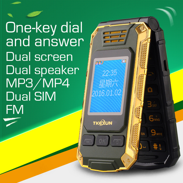 TKEXUN G5 Double dual Screen Dual SIM Card 2800mAh long standby touch screen FM senior mobile phone for old people P027
