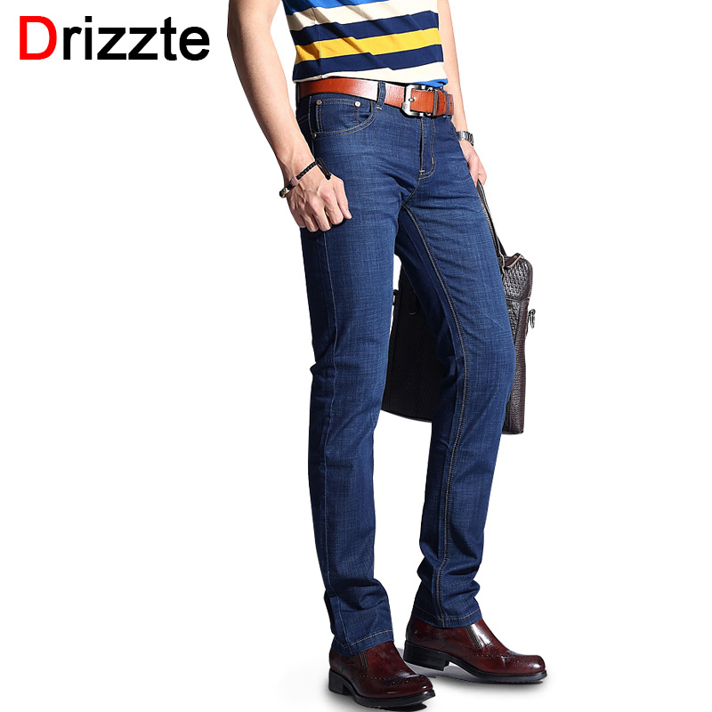 Drizzte Fashion Men's Jeans Stretch Blue Dress Denim Jean Men Slim Fit Jeans For Work Size 30 32 34 35 36 38 Pants Trousers drizzte men s jeans classic stretch blue denim business dress straight slim jeans size 34 35 36 38 pants trousers jean for men