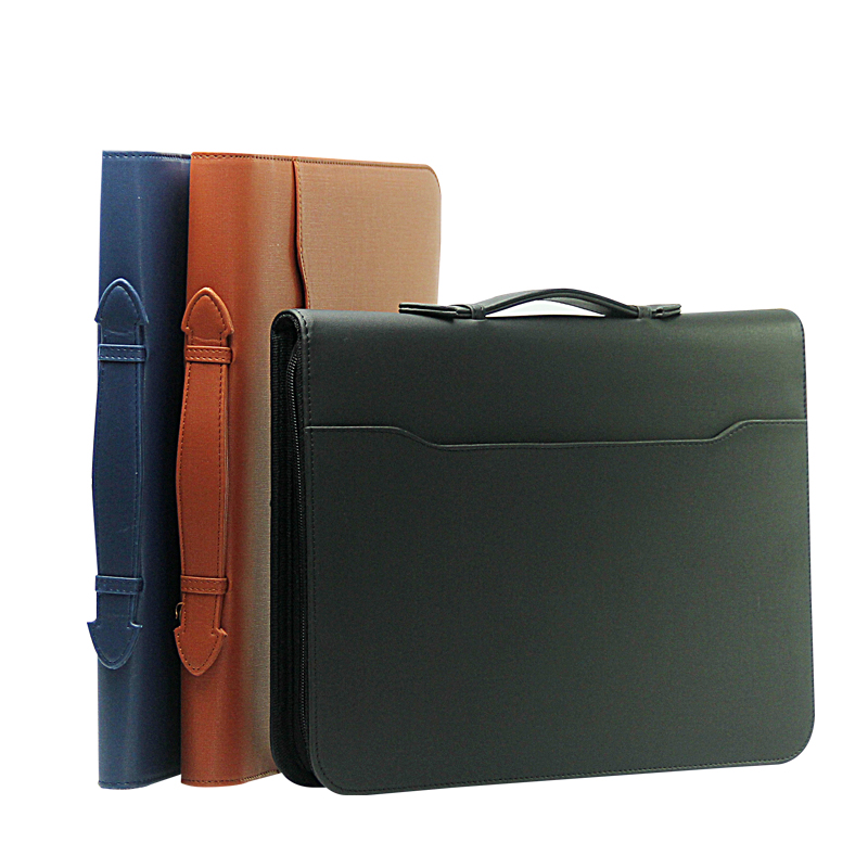 High Quality Leather Zipper Business Office PU Leather File Folder A4 Manager Bag Portfolio Briefcase With Handles Calculator