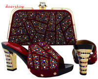 New Coming Wine Slip On Shoes And Bag Sets African Lady Shoes With Handbag HJT1 26