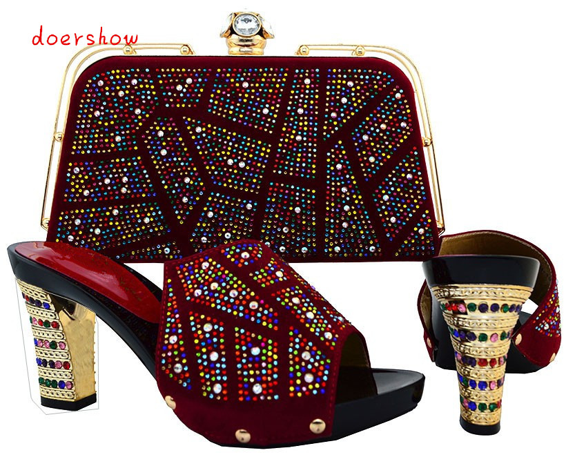 doershow New coming wine slip on shoes and bag sets African lady shoes with handbag HJT1-26 doershow new coming purple design african sandal shoes with shinning stones for fashion lady free shipping jk1 36