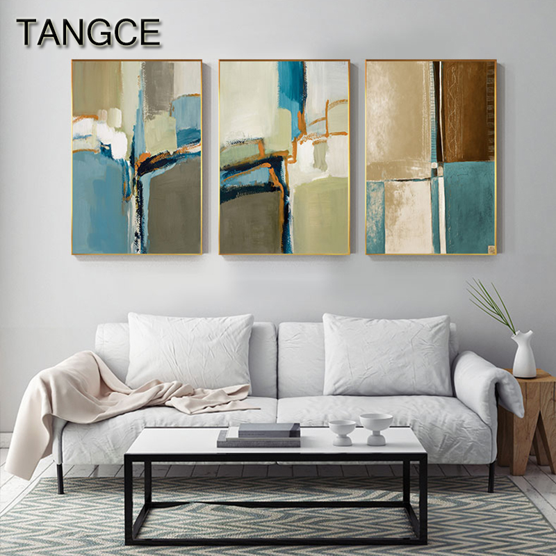 Abstract Blue Green Poster Print Oil Brush Touch Canvas Painting Modern Wall Art Picture for Living Room Nordic Decoration Home