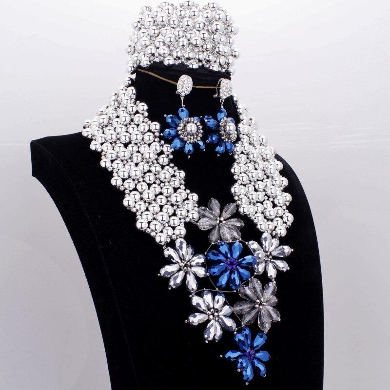 Dudo bijoux perles collier ensemble Nigeria argent mariage bijoux fins ensembles cristal fleurs Dubai argent bijoux ensembles pour femmes nouveau