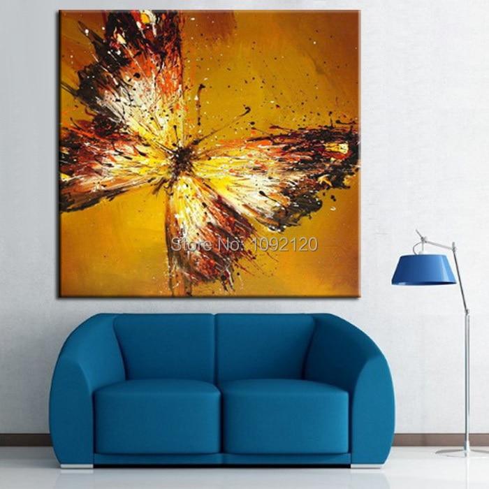 Obrázek domácnosti Oranžová Ručně malovaný olejomalba Motýl Vysoce kvalitní obraz Obývací pokoj Dekor Unikátní dárek