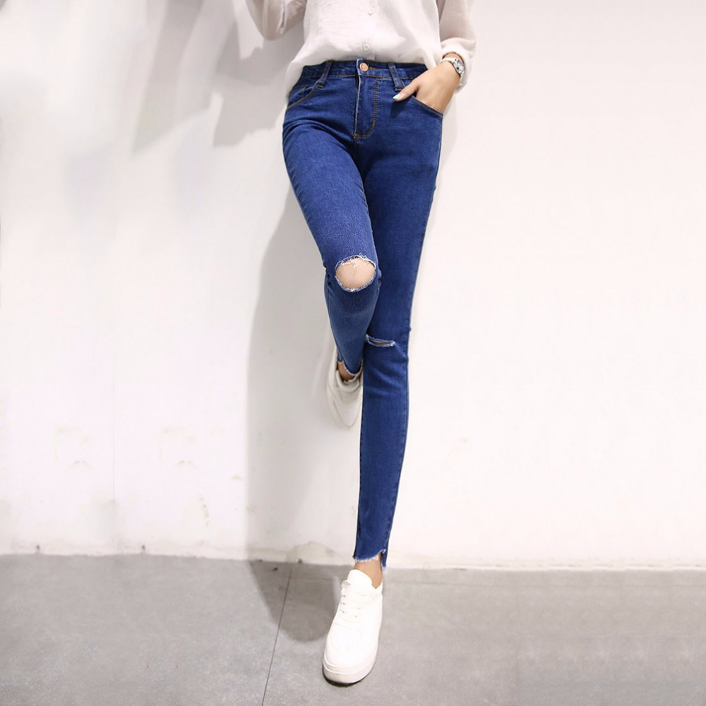 Tengo New Fashion Casual Women High Waist Denim Jeans Brand Vintage Skinny Slim Pencil Pants Holes Jeans Female Sexy Trousers harajuku new fashion women casual high waisted casual holes skinny jeans