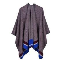 Brand Designer Classic Plaid Striped Ponchos 2019 Cashmere Scarves Women Winter Warm Shawls and Wraps Pashmina Thick Capes Femme