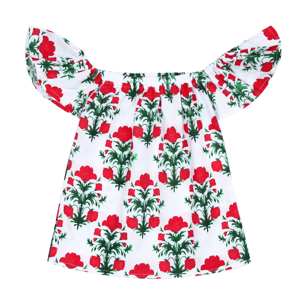 2017 Summer Off Shoulder Chidren Girls Dress Flower Tree Baby Princess Dress Kids Toddler Fashion Girls Clothes