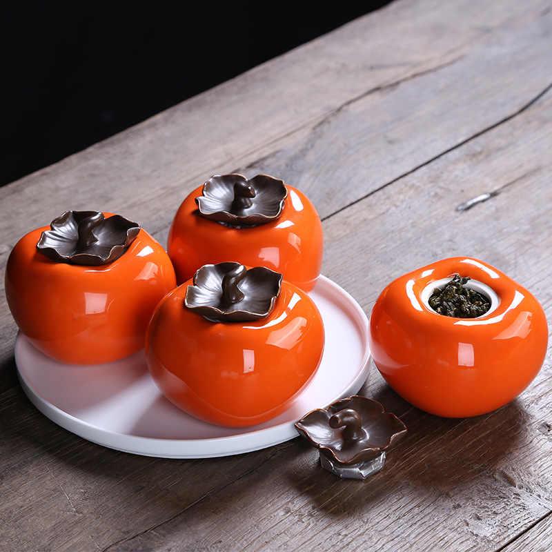 السيراميك البرسيمون براد شاي المحمولة الشاي تخزين خزان اكسسوارات المطبخ الديكور زجاجة توابل وعاء السكر صندوق قهوة 04271