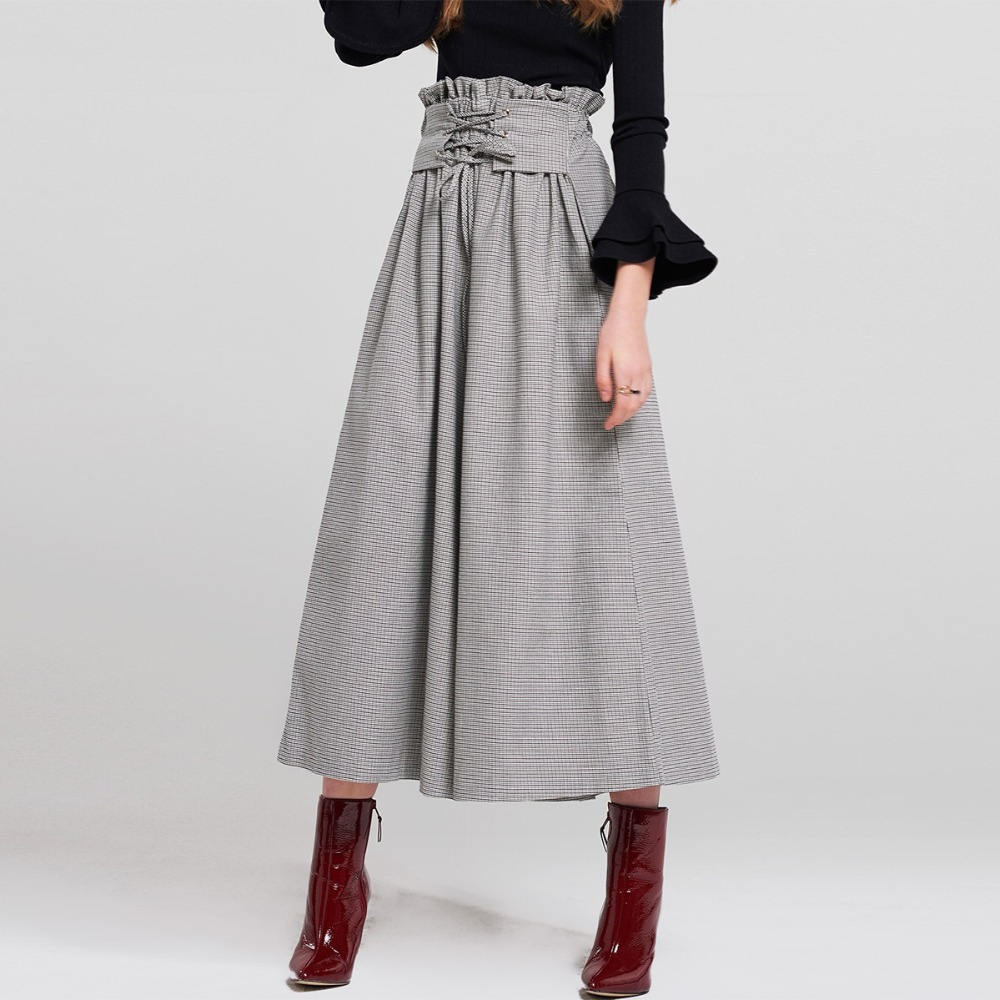 Plaid Ruffle High Waist Lace Up Wide Leg Pants Women Loose Trousers 2018 Autumn Streetwear Pleated Palazzo Pants Capris Female