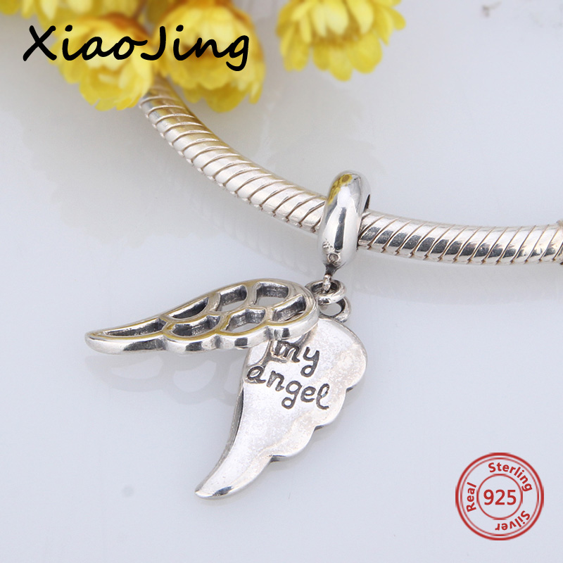Hot Sale 925 Silver Original Wings My Angel Charms Pendant Fit Authentic European Bracelets Antique Beads Jewelry Making Gifts Beads & Jewelry Making Beads