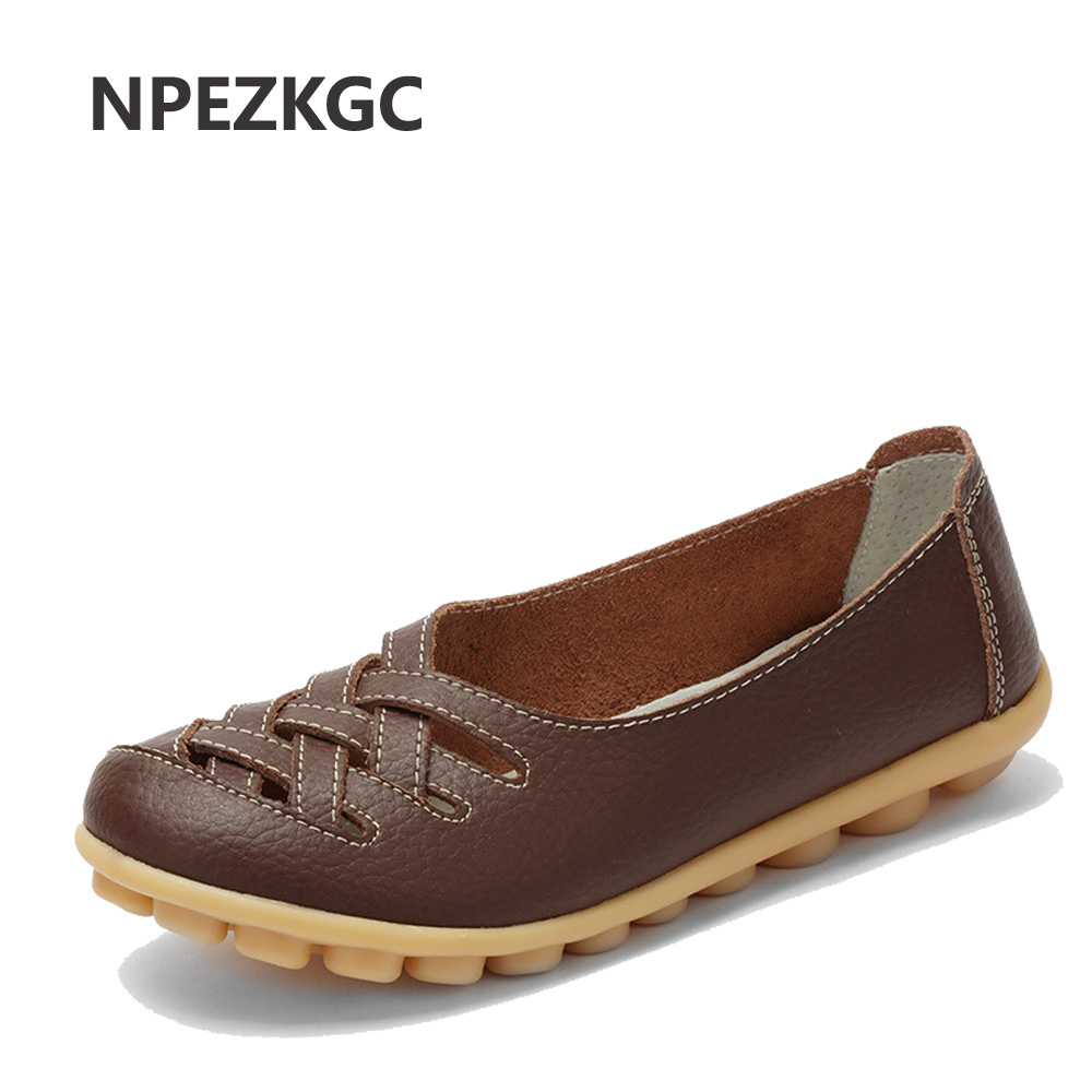 NPEZKGC Spring summer New Fashion Leather Woman Flats Moccasins Comfortable Women Shoes Cut-outs Leisure Flat Woman Casual Shoes mari
