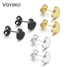 Stud-Earrings Engraved Stainless-Steel Jewelry Gift Heart Women High-Quality Fashion