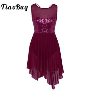 Image 1 - TiaoBug נשים ללא שרוולים פאייטים רשת בלט מחול בגד גוף למבוגרים התעמלות בגד גוף בלרינה ריקוד מסיבת בגד גוף שמלה
