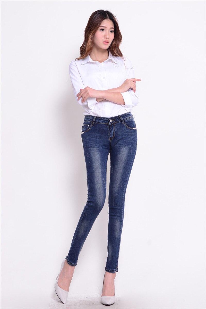 Fashion Women Vintage Slim Tight Fitting Elastic Mid Waist Skinny Jeans Thin Pencil Pants Sexy Slim