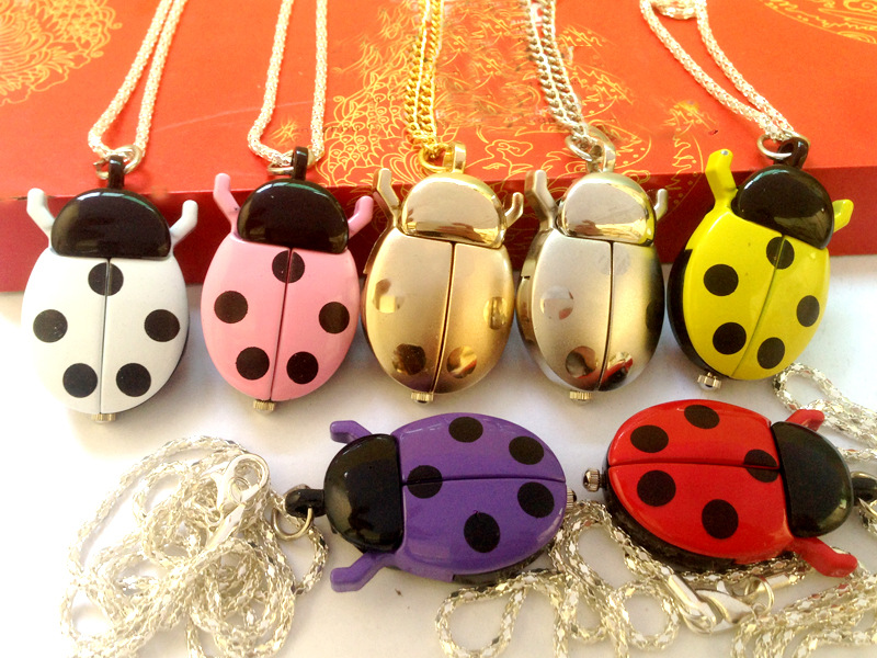 New Creative Fashion Small Ladybug Pocket Watch Fashion Accessories Pocket Watch Lovely With Luxury Necklace