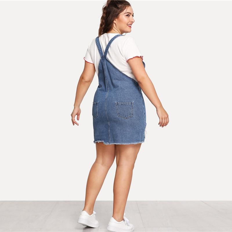 Hem Distressed Denim Overall Dress