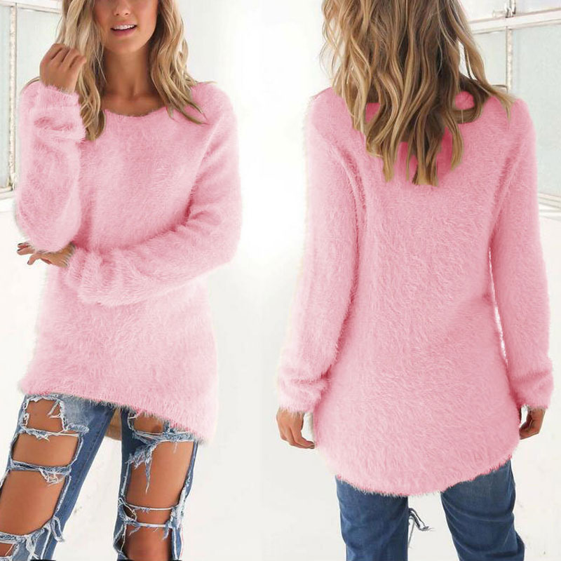 Spring Autumn Sweater Women Loose Long Sleeve Solid Warm Pullovers Tops FDC99