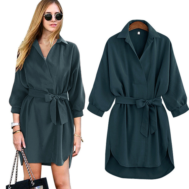 New 2016 Autumn Women Basic Coat Fashion Wrap Belt Turn Down Collar Full Sleeve Long Trench Casual Office Suit Tops Big Size