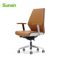 High Quality Leather Boss Chair High Back Brown Ergonomic Office Chair Stable Armrest Comfortable Seat Chairs Rolling Wheels
