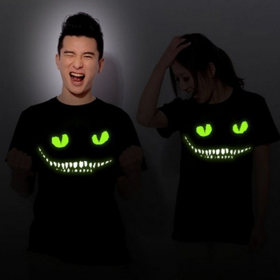 2015 High quality black Noctilucent print dark devil  Cheshire Cat night light short sleeve men's novelty t-shirt