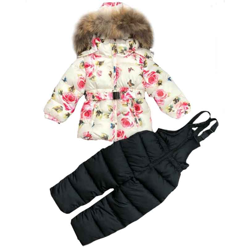 Winter Clothing Set for Girls Flowers Down Coat Overalls Suits Warm Windproof Snowsuit Butterfly Toddler Children
