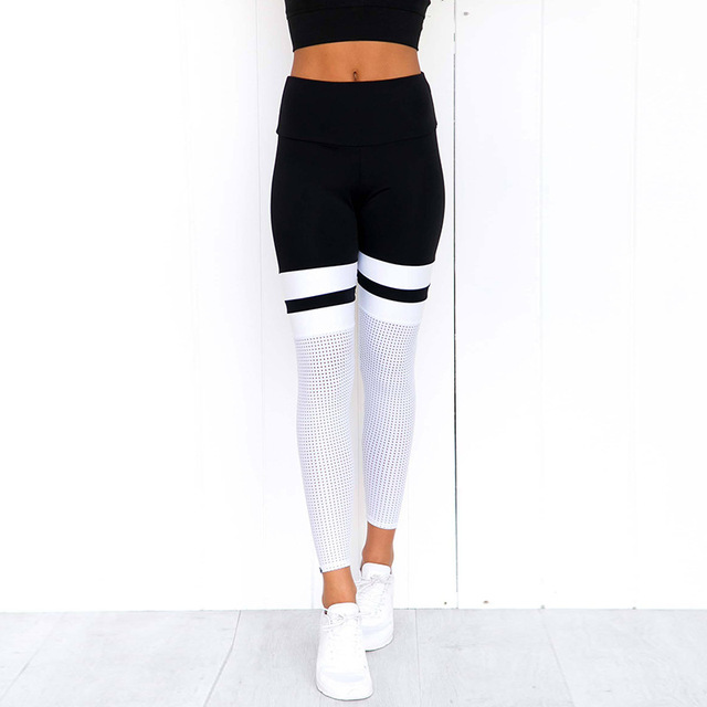 Women Fitness Leggings Casual Workout Pants Pencil Stretchy Trousers Gradient Legging Skinny Leggins Gothic Mesh Insert Leggings 5