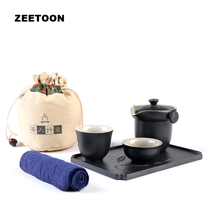 Black Zen Japanese Coarse Pottery Portable Travel Tea Sets Creative Quick Cup 1 Teapot 2 Teacup with Tea Tray Towel Carrying Bag