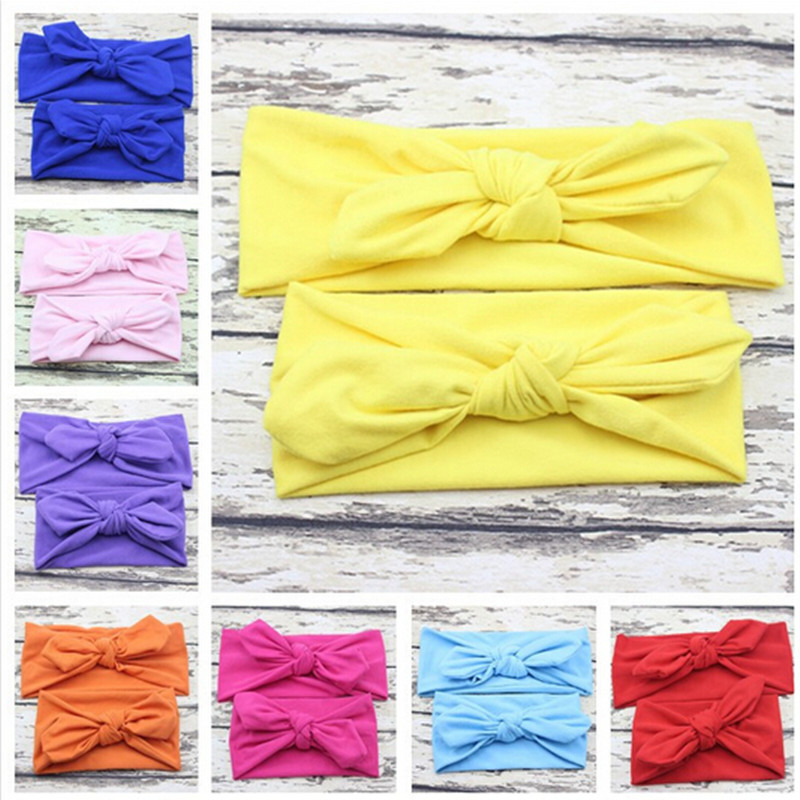 2PC/Set Mum baby Mother Daughter Parent Child Multicolored Bowknot Headband Cute Hairband Turban Knot Accessories Headwear leaf print turban headband