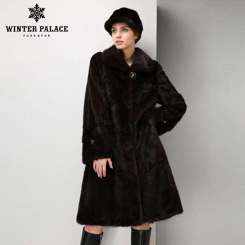 Natural furs women fur coats Fashion long genuine coat mink fur coat real mink fur coat Thick Warm  Turn-down Collar