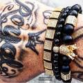 Atolyestone Geometric Charms Men Women Black CZ Crown Bracelet Natural 8mm Matte Onyx Stone Beads Bracelets Pulseira Masculina