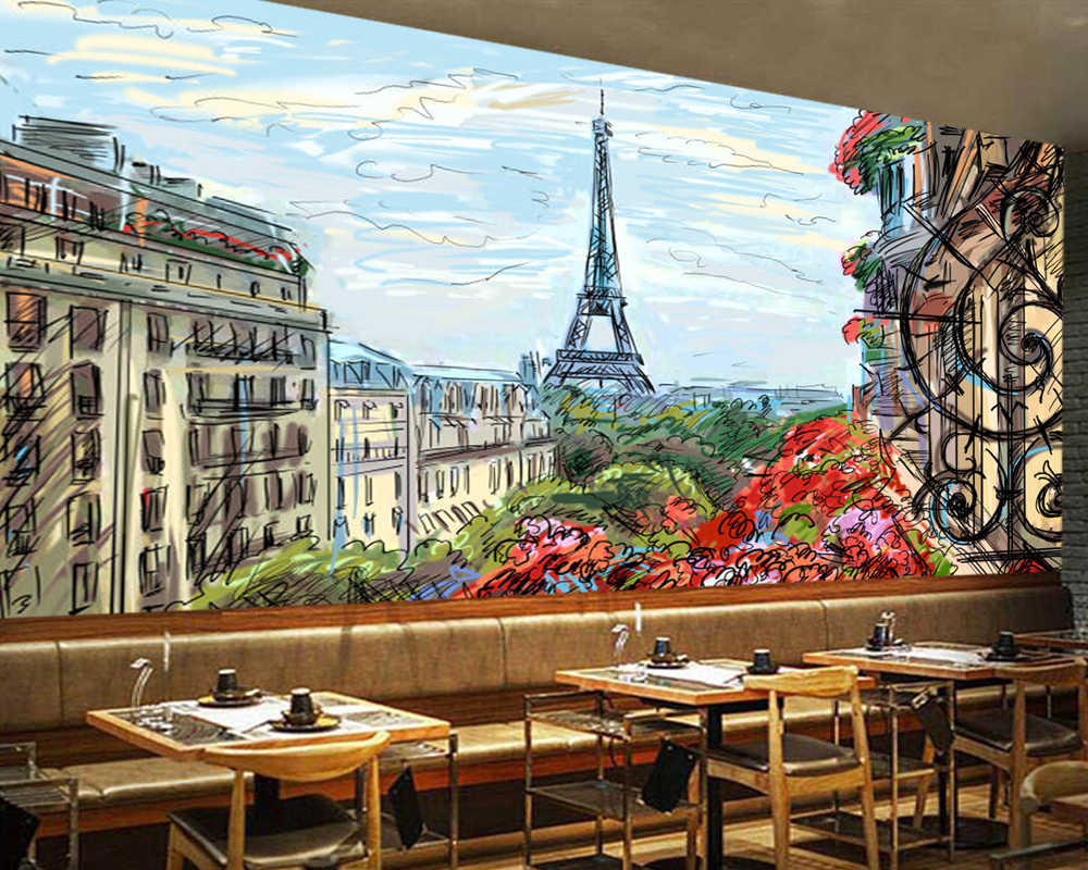 Paris Eiffel Tower painting 3D wallpaper papel de parede,living room TV sofa wall bedroom wall papers home decor bar mural