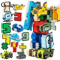 (GonLeI) Twórcze Preschool Edukacyjne Montażu Artykułów Przekształcić Numer Roboty łatwo Deformować Samolot & Car Urodziny Boże Narodzenie Kid Toy