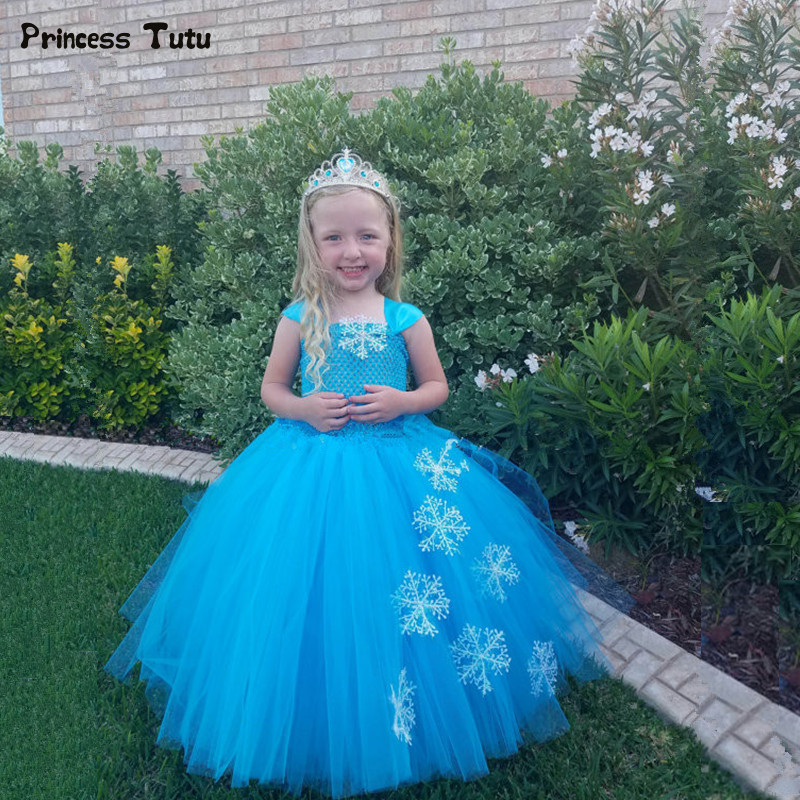 Children Girls Princess Elsa Tutu Dress Blue Snow Flake Baby Girl Birthday Party Dresses Kids Girls Halloween Christmas Costumes princess alice inspired tutu dress children knee length character birthday party cosplay tutu dresses kids halloween costume