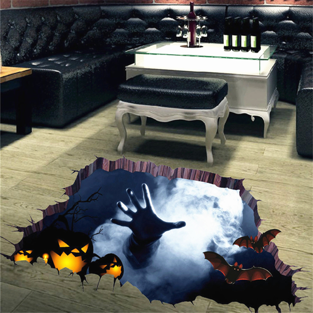 Scary Bat Theme Decoration Floor Stickers Removable Art Diy Wall Decal Mural Home Decor Whole 30jy27