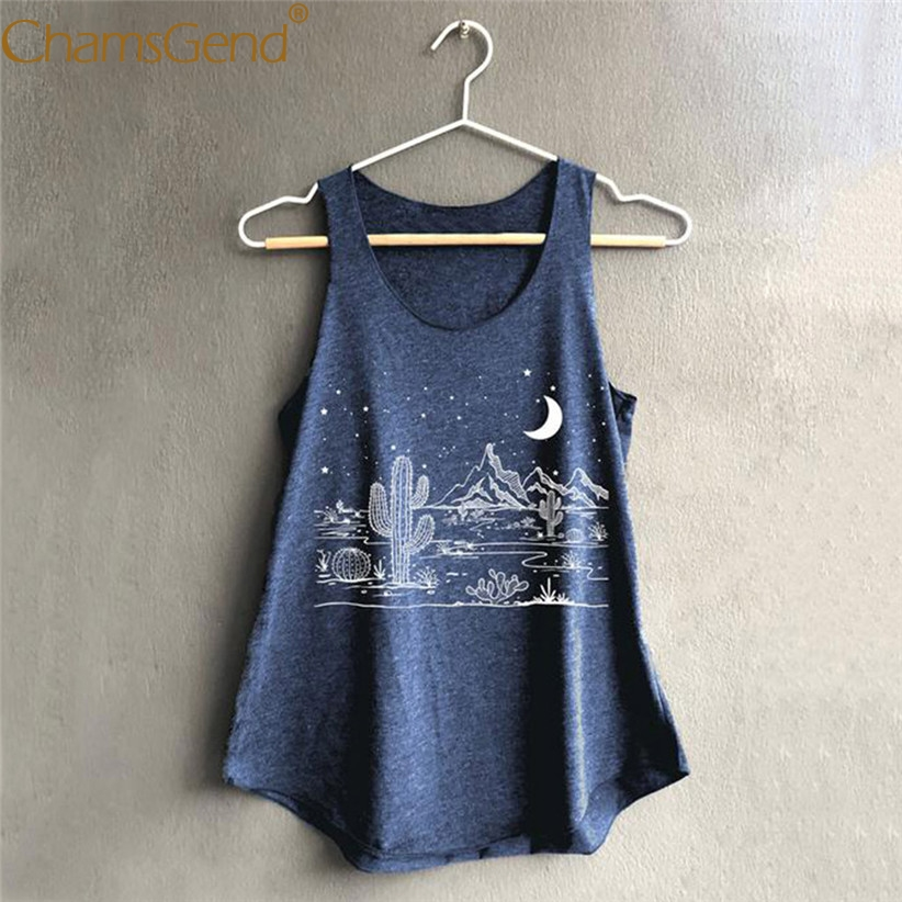 Printing Cactus Night Scenery Woman Loose   Tank     Top   Summer Casual Sleeveless U Neck Woman Shirt Summer Beach Woman   Tank   90226