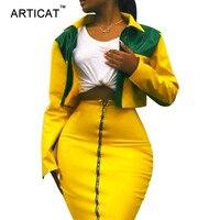 Articat Two Pieces PU Leather Dress Women Autumn Long Sleeve Zipper Short Bodycon Dress Sexy Club