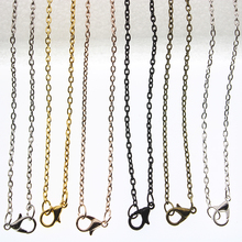 10pcs Rose Gold Black Silver Plated Metal Chain Necklace Chains 60cm length Lobster Clasp DIY Jewelry Making Accessories